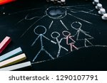 family drawing on chalk board... | Shutterstock . vector #1290107791