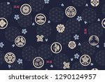 seamless pattern with japanese... | Shutterstock .eps vector #1290124957
