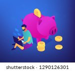 freelancer with laptop working... | Shutterstock .eps vector #1290126301