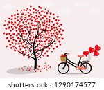 red heart trees and bicycles... | Shutterstock .eps vector #1290174577