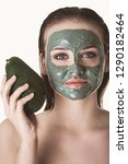 woman with green clay face mask ... | Shutterstock . vector #1290182464