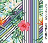 tropical palm leaves and... | Shutterstock .eps vector #1290182641