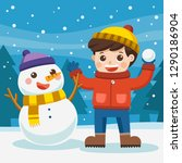 happy boy play outdoors in snow.... | Shutterstock .eps vector #1290186904
