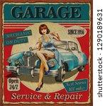 vintage garage retro poster... | Shutterstock . vector #1290189631