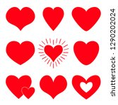 red heart icon set. happy... | Shutterstock .eps vector #1290202024
