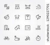 thin line icons set of fitness  ... | Shutterstock .eps vector #1290227701