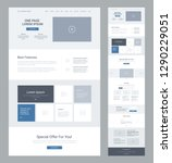 Stock vector one page website design template for business landing page wireframe flat modern responsive 1290229051