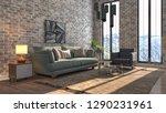 interior of the living room. 3d ... | Shutterstock . vector #1290231961