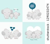 Cute Elephant Family With A...