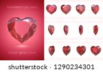 Stock vector vector frames of rotating ruby heart luxury red crystal valentine symbol of love set of d 1290234301