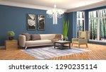 interior of the living room. 3d ... | Shutterstock . vector #1290235114