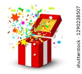 open red gift box with surprise ... | Shutterstock .eps vector #1290238507