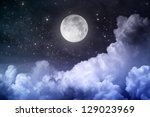 Cloudy Night Sky With Moon And...