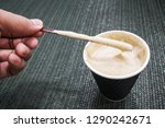 cappuccino coffee in a glass of ... | Shutterstock . vector #1290242671
