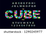 pixel retro video game font. 80'... | Shutterstock .eps vector #1290245977