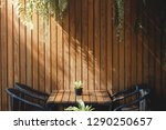 wooden wall in restaurant and... | Shutterstock . vector #1290250657