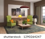 interior with chair. 3d...   Shutterstock . vector #1290264247