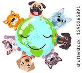 cute cats an around globe... | Shutterstock .eps vector #1290265891