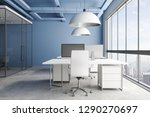 blue office interior with... | Shutterstock . vector #1290270697