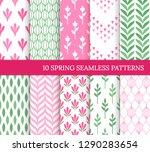 ten spring seamless patterns....   Shutterstock .eps vector #1290283654