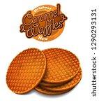 advertising caramel waffles. ...   Shutterstock .eps vector #1290293131