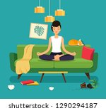 young woman in yoga pose ... | Shutterstock .eps vector #1290294187