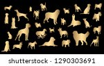 Stock vector vector silhouette of dogs on black background 1290303691