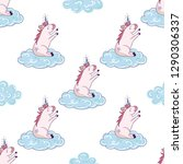 cloud unicorn and cute seamless ... | Shutterstock .eps vector #1290306337