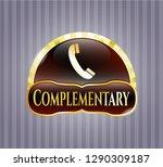 golden emblem with old phone... | Shutterstock .eps vector #1290309187