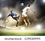 two football players in jump to ... | Shutterstock . vector #129030995