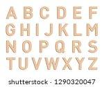 Wooden Font Letter Elements Set ...