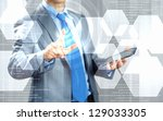 image of businessman touching... | Shutterstock . vector #129033305