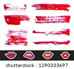 red lipstick smears set.... | Shutterstock .eps vector #1290333697