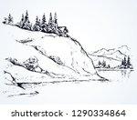 rustic cliff bush spruce scene...   Shutterstock .eps vector #1290334864