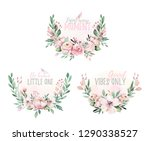 hand drawn watercolor wreath... | Shutterstock . vector #1290338527