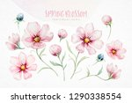 wreath of blossom pink cherry... | Shutterstock . vector #1290338554