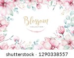 wreath of blossom pink cherry... | Shutterstock . vector #1290338557
