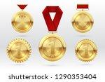 gold medal. number 1 golden... | Shutterstock .eps vector #1290353404
