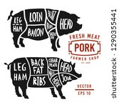 meat cuts of pork. vector pig... | Shutterstock .eps vector #1290355441