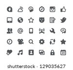 Stock vector  social media network minimalistic and simple icons 129035627