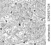 vector italian pizza seamless... | Shutterstock .eps vector #1290357124