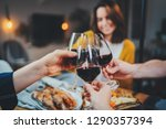 best friends dining together in ... | Shutterstock . vector #1290357394