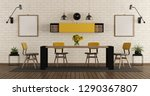 modern dining room with black... | Shutterstock . vector #1290367807