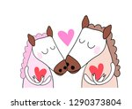 couple of doodle horse  cartoon ... | Shutterstock .eps vector #1290373804