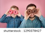 father and son. funny kid and... | Shutterstock . vector #1290378427