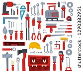 hand tool set. collection of... | Shutterstock .eps vector #1290382951