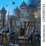 Dramatic scene of a large medieval castle city under siege, 3d render