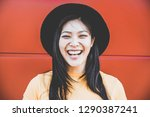 portrait of happy asian girl... | Shutterstock . vector #1290387241
