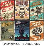cinema set of posters.  vintage ...   Shutterstock . vector #1290387337