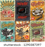 cinema set of posters.  vintage ... | Shutterstock . vector #1290387397